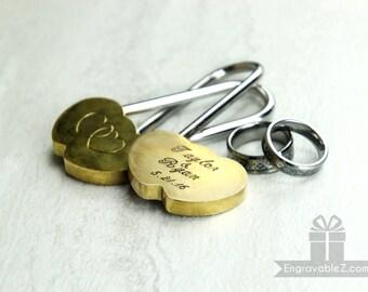 Custom Engraved Double Heart Love Lock