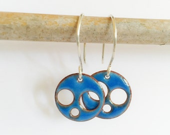 Water Blue Enamel Earrings. Hole punched discs. Colorful and Modern.