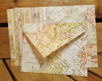 Free Shipping - Classic Map Envelopes with Blank Parchment Notes Sets of 5