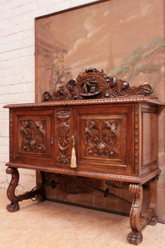antique spanish dining room sideboard server wonderful carved detail