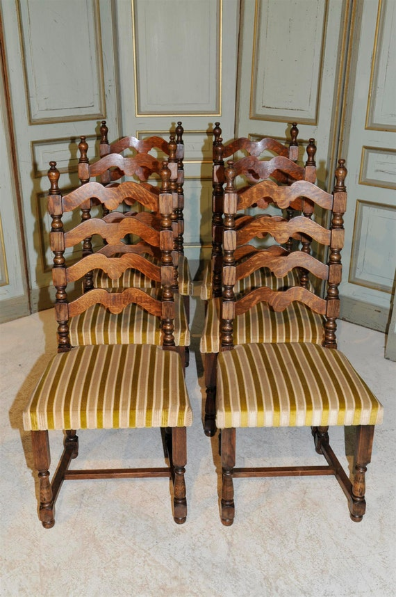 Antique French Country Ladder Back Dining Chairs Set Of Six