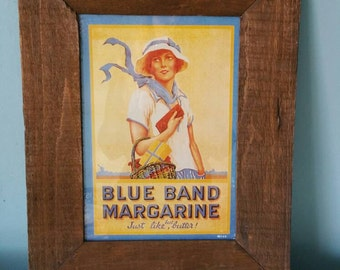 Vintage reprint Blue Band margarine advertisement poster framed