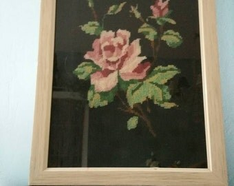 Needlepoint rose! Framed rose embroidery