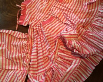 Late 50's vintage candy striped girls dress and bloomers. 24 chestx20 length. Sundress
