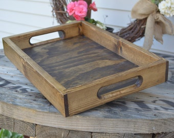 Wooden Tray, Rustic Wooden Tray, Wooden Ottoman Tray, Ottoman Tray, Rustic Ottoman Tray