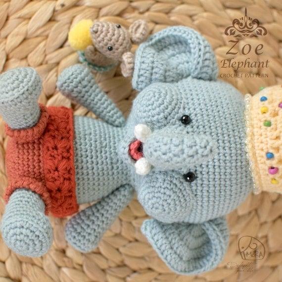 Crochet Doll Patterns On Etsy : Crochet Pattern / Zoe Elephant doll / MoRA made by ...