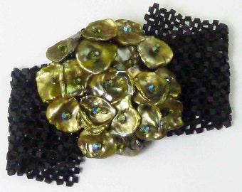 Sea Nymph's Treasure Cuff Kit - Black with Olivine Pearls