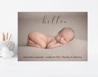 Hello Birth Announcement, Baby Announcement, Hello, Baby Boy Announcement, New Baby Announcement, Photo Announcement, Printable Photo Card