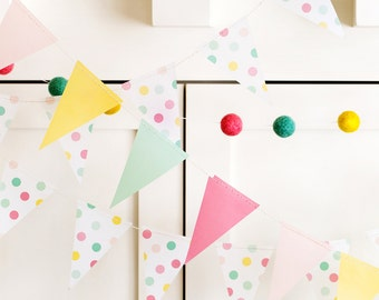 Pennant Banner, Mini Banner, Pastel Colors, Vellum, Bunting, Mini Flags, Spring Birthday, Flags and Banners, Bunting Flags