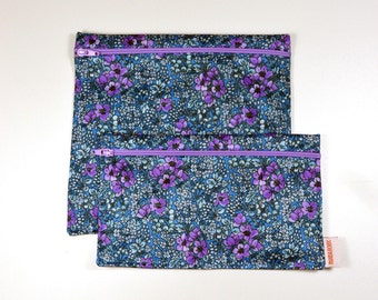 2 Reusable bags - one snack bag one sandwich bag - little flowers