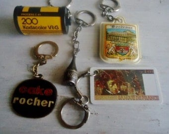 5  promotional keychain ,French keychains, collectible keychains