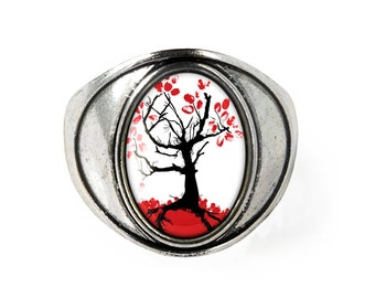 Gothic Japanese Cherry Blossom Tree Asian Oriental Glass Antique Silver Size 7 Ring 162-SSOR