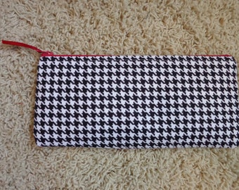 Black and White Houndstooth Zippered Pencil Bag With Red Zipper