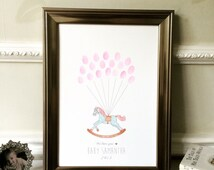 Baby Shower Keepsake Art - vintage rocking horse drawing - personalised for baby - with FREE ink pad - Nursery Art - Finger Print Art