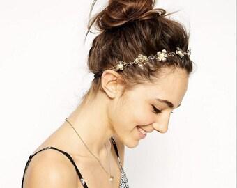 Gold Leaf headband,Pear Flower Headband, Stretchy Headband, Bridal Head Piece/ Bohemian style, Boho Accessories, Wedding Hair Band