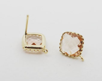 E008704/Peach/Faceted Glass +Gold Plated Over Brass Frame+Sterling Silver Post/Tooth Framed Square Glass Earrings/10x 10mm/2pcs