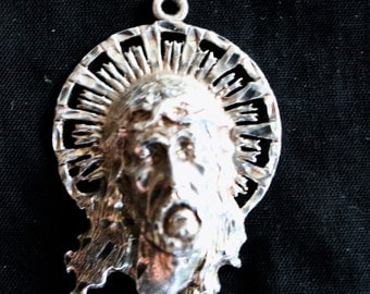 925 Sterling Silver Face of Jesus - Crown of Thorns - Halo Pendant