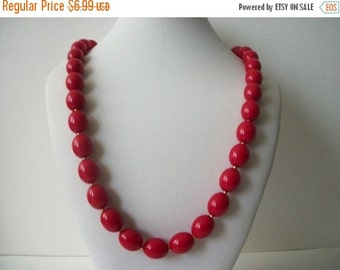ON SALE Vintage Vibrant Red Plastic Beads Necklace 1533