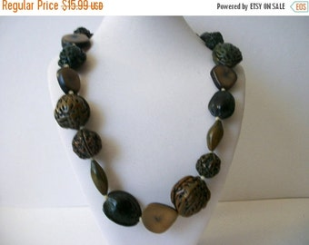 ON SALE Vintage 1960s Fruit Nuts Exotic Chunky Molded Plastic Beads Necklace 6196