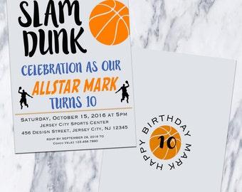 Printable-Birthday-Invitation-Sports-Basketball-Fiesta-Party-Boy-Girl-Custom-Ball-Orange-Blue-Custom colors