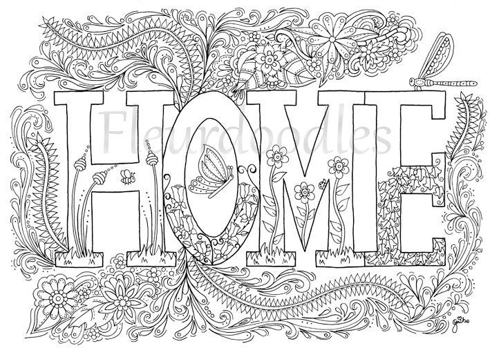 coloring page Sweet Home instant download unique por ...