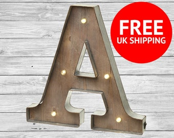 "Freestanding Wooden Rustic LED Light Up Letters, 16"" Letter Lights, Numbers, Marquee Letters, Wall Mounted, Wedding Letters"