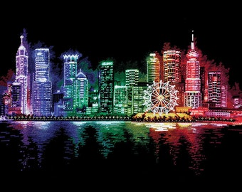 "Counted Cross Stitch Kit Make With Your Hands  - ""Night City"""
