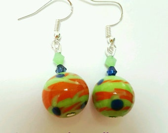 Lampwork glass earrings, glass jewelry, vintage glass earrings, vintage beaded earrings, handmade glass bead earrings, green and orange