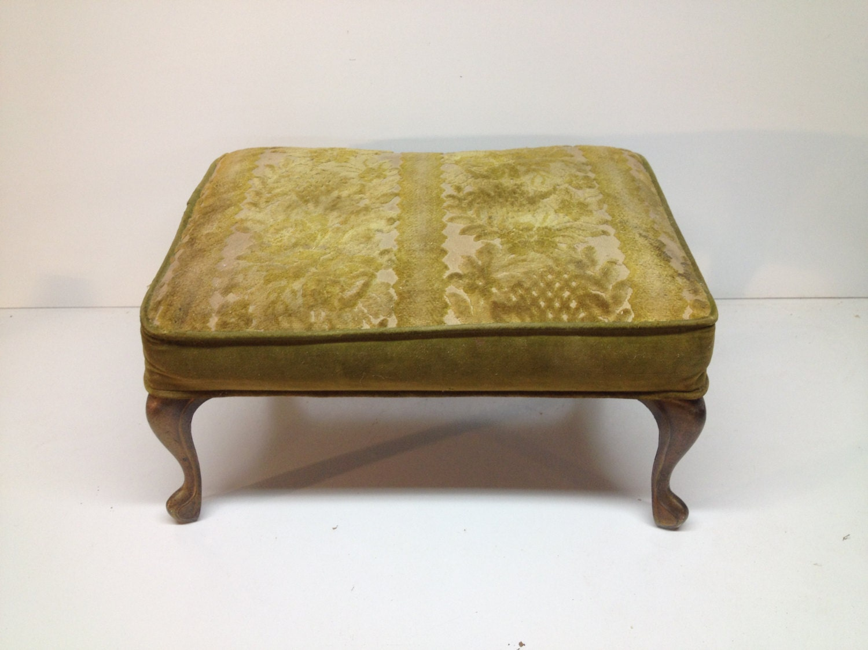 Antique Vintage Suede Or Velvet Olive Green Ottoman With