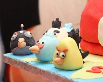 pigs and bireds Cake toppers. cake decorations fondant and gumpaste figures for boys birthday.