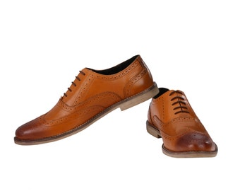 Mens Formal Oxford Wingtip Leather Brogues | Jacksin Shoes
