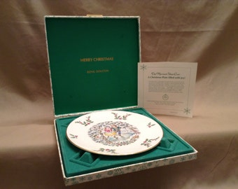 Vintage Royal Doulton Tableware LTD 1977 Christmas Plate - First in a Series - Bone China - Made in England - Original Box and info paper