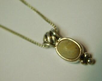 Vintage Sterling Silver & Jasper Necklace Pendant