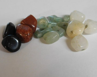 Vintage Natural Drilled Onyx Aventurine White Agate & Goldstone for Jewelry Makers