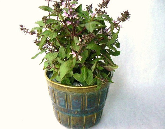 Vintage California Pottery Glazed Ceramic Herb Garden Pot