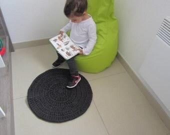 Yarn rug, entrance rug, crochet rug, black jeans rug, round rug, kids rugs, small rug, kids floor rug