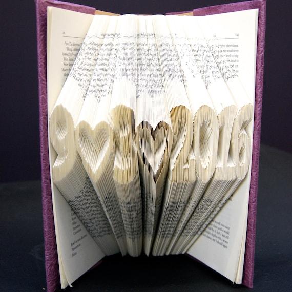 Book Art Wedding Gift : Folded Book Art Custom Wedding First Anniversary Book Sculpture ...