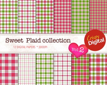 Plaid Red and Green Digital Papers 12pcs 300dpi Digital Download Collage Sheets Scrapbooking Printable Paper