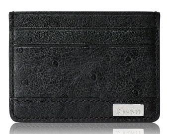 D'Monti Nero Black Christmas Gift Ideas - France Luxury Genuine Real Ostrich Leather Mens Womens Unisex Credit Card Holder Slim Wallet