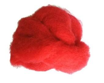Wool Roving 2 ounces 2 oz - RED  Dorset Wool Roving - wet felting - needle felting - wool roving - spinning - medium fiber