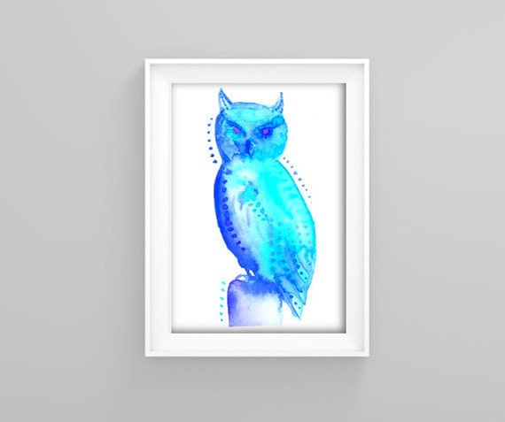 Blue Owl  Signed Art Print by asobrienGallery on Etsy