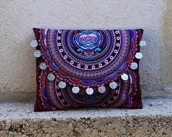 Pink Circular Tribal Clutch/iPad case