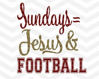 Sundays Jesus Football File, Sunday Football Cut File, Cutting File, PNG, Cricut, Silhouette, Cut Files, Quote Overlay, Football SVG