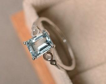 Natural aquamarine ring, March birthstone, sterling silver, aquamarine engagement ring.