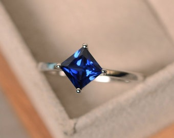 Lab sapphire ring, princess cut sapphire,silver, solitaire ring, prong setting, September birthstone