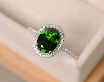Chrome diopside ring, engagement ring, oval cut, halo ring diopside