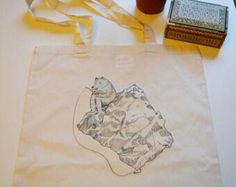 Fishing Bear Canvas Bag