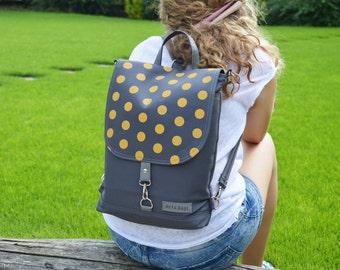 Hipster Laptop backpack, Canvas backpack, festival rucksack, mini polka dots bag, convertible bag, crossbody bag, functional shoulder bag