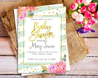 peach and mint baby shower invitation, mint baby shower invitation, floral baby shower invite, peach mint and gold stripes baby shower