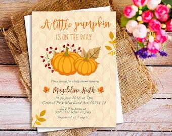 Fall Pumpkin Baby Shower Invitation, Little Pumpkin Baby Shower Invite,  Autumn Baby Shower Invitation